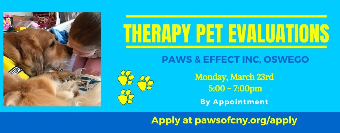 Oswego Therapy Pet Evaluations March 23rd